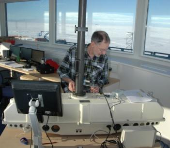 BAS scientist Jon Shanklin makes an ozone measurement at Halley station in Antarctica.