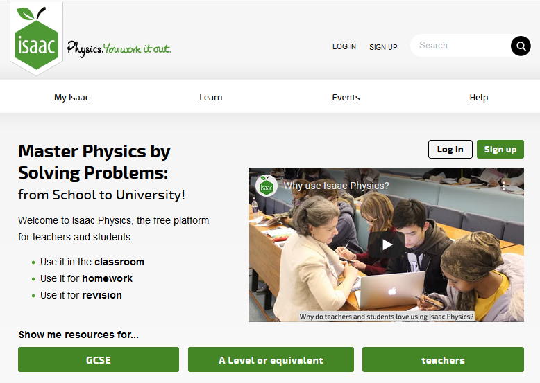 Isaac Physics Home Page