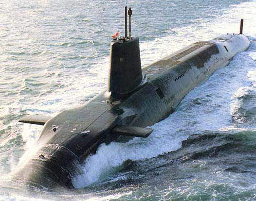 Royal Navy submarine Vanguard underway on the surface